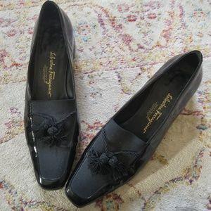 Salvatore Ferragamo | Black Patent Tassel Loafers